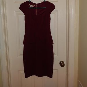 Burgandy Maggy London Peplum Dress
